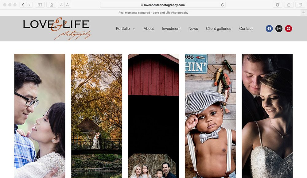 photographer website refresh for Love and Life Photography